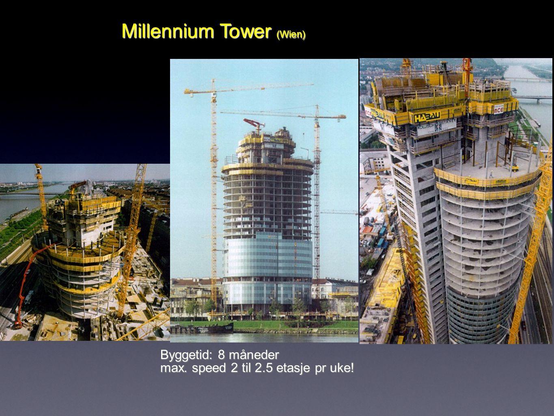 6 Millennium Tower (Wien) Byggetid: 8 måneder max. speed 2 til 2.5 etasje pr uke!