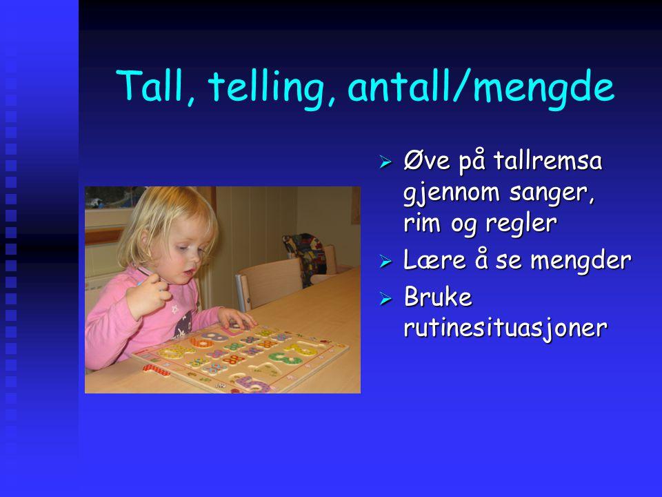 Tall, telling, antall/mengde  Øve på tallremsa gjennom sanger, rim og regler  Lære å se mengder  Bruke rutinesituasjoner