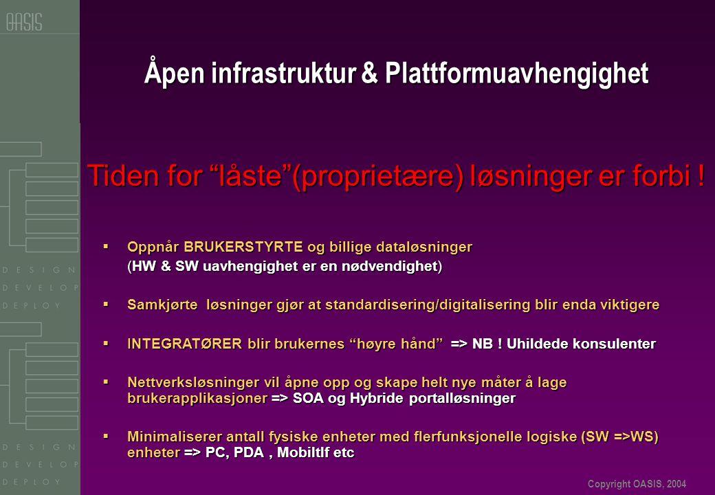 Copyright OASIS, 2004 Åpen infrastruktur & Plattformuavhengighet Tiden for låste (proprietære) løsninger er forbi .