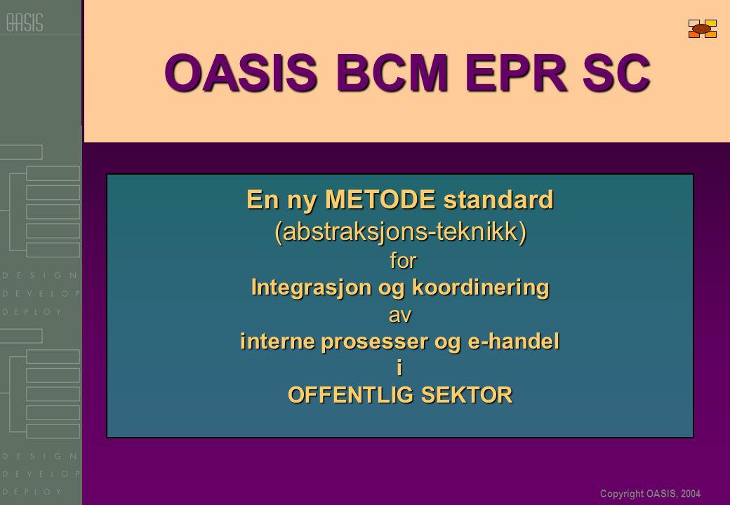 Copyright OASIS, 2004 OASIS BCM EPR SC En ny METODE standard (abstraksjons-teknikk) for for Integrasjon og koordinering av interne prosesser og e-handel i OFFENTLIG SEKTOR