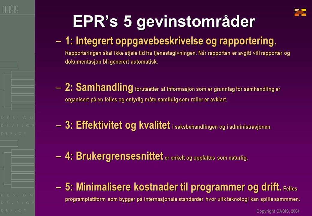 Copyright OASIS, 2004 EPR's 5 gevinstområder – 1: Integrert oppgavebeskrivelse og rapportering. Rapporteringen skal ikke stjele tid fra tjenestegivnin