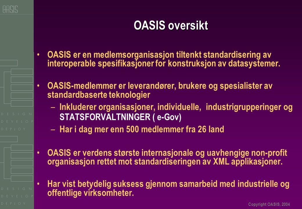 Copyright OASIS, 2004 OASIS oversikt • OASIS er en medlemsorganisasjon tiltenkt standardisering av interoperable spesifikasjoner for konstruksjon av datasystemer.