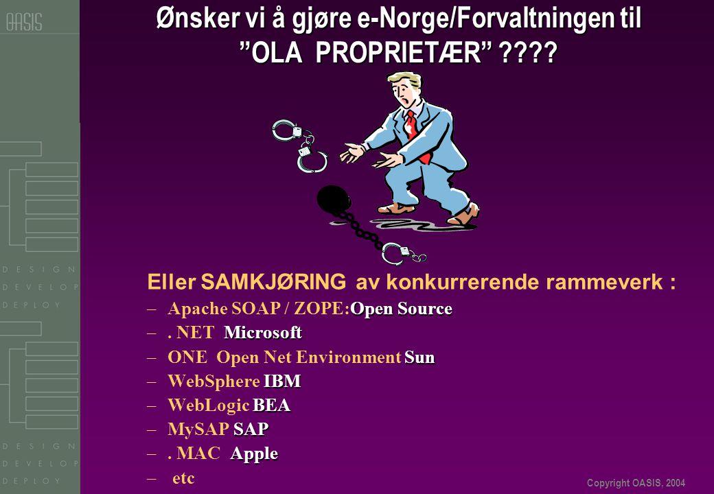 """Copyright OASIS, 2004 Ønsker vi å gjøre e-Norge/Forvaltningen til """"OLA PROPRIETÆR"""" ???? Eller SAMKJØRING av konkurrerende rammeverk : Open Source –Apa"""