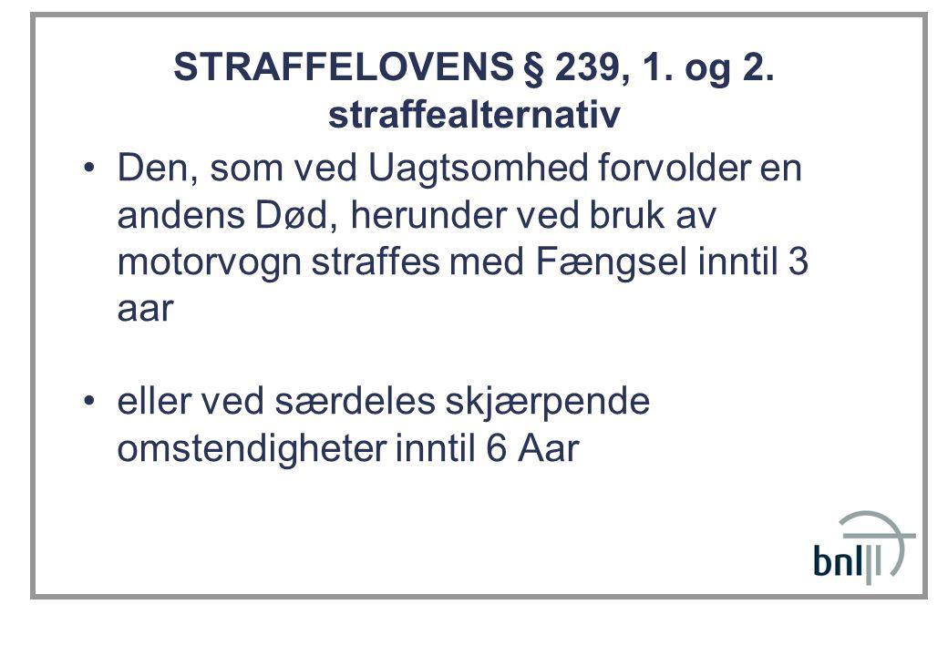 STRAFFELOVENS § 239, 1. og 2. straffealternativ •Den, som ved Uagtsomhed forvolder en andens Død, herunder ved bruk av motorvogn straffes med Fængsel