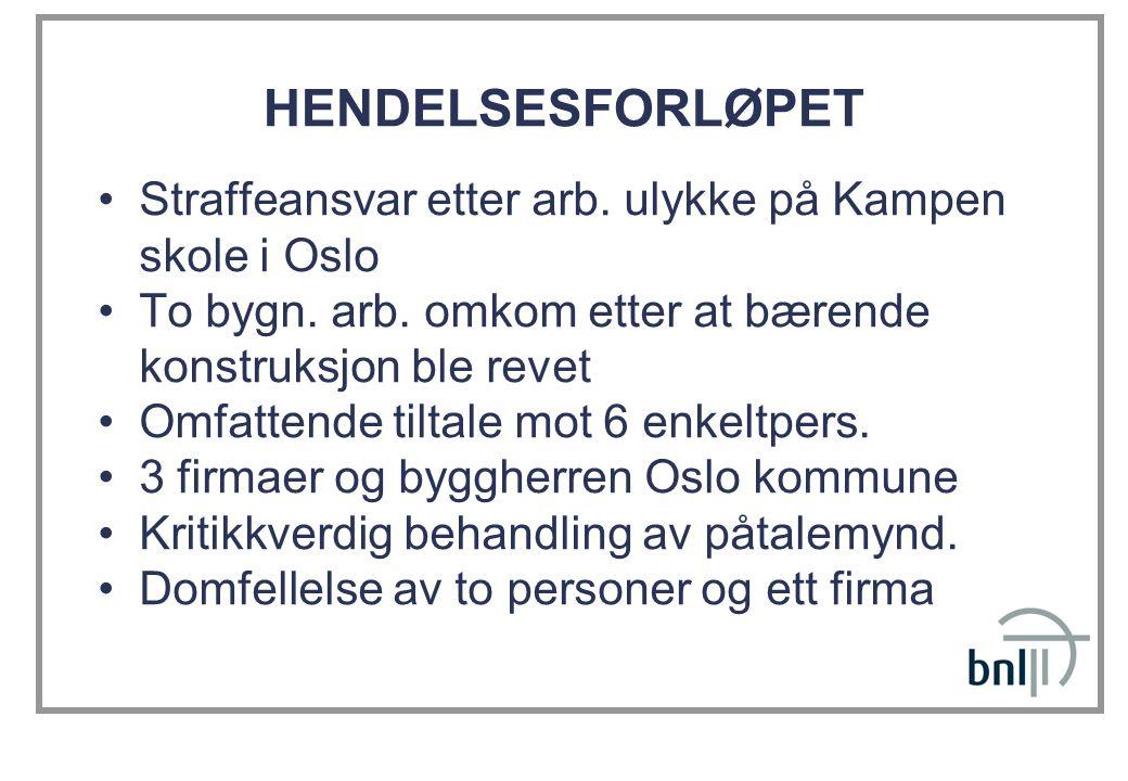 HENDELSESFORLØPET •Straffeansvar etter arb. ulykke på Kampen skole i Oslo •To bygn. arb. omkom etter at bærende konstruksjon ble revet •Omfattende til