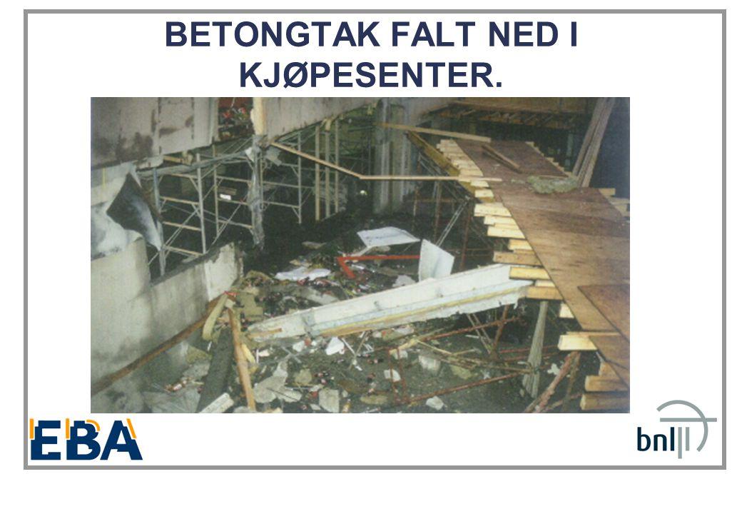 BETONGTAK FALT NED I KJØPESENTER.