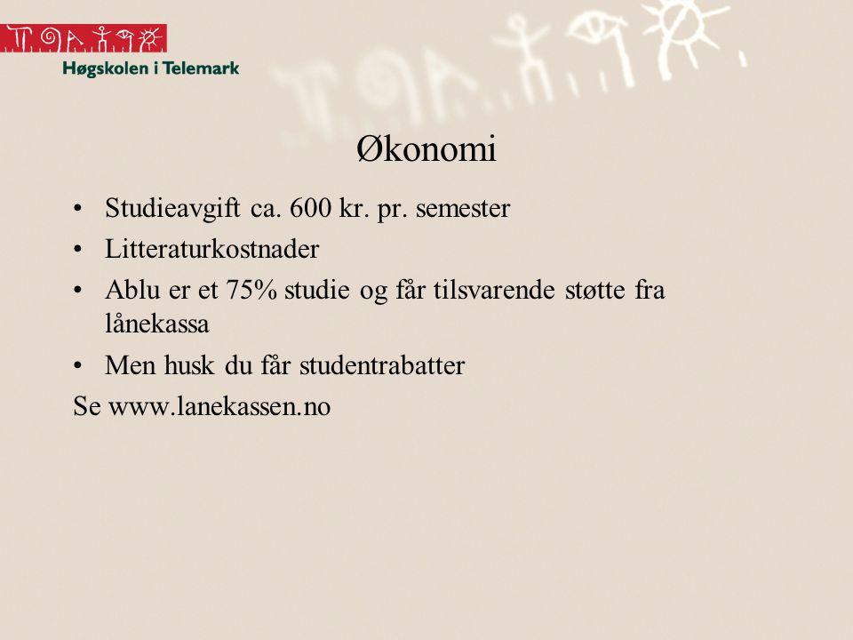 Økonomi •Studieavgift ca. 600 kr. pr. semester •Litteraturkostnader •Ablu er et 75% studie og får tilsvarende støtte fra lånekassa •Men husk du får st