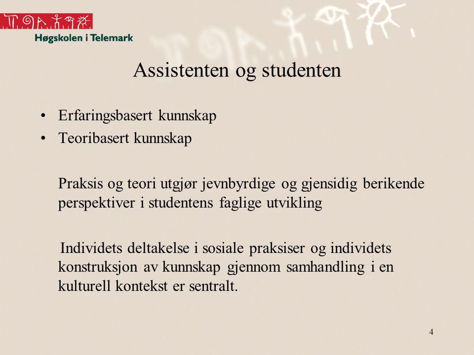 Assistenten og studenten •Erfaringsbasert kunnskap •Teoribasert kunnskap Praksis og teori utgjør jevnbyrdige og gjensidig berikende perspektiver i stu