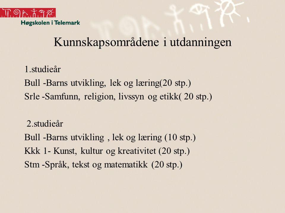 Kunnskapsområdene i utdanningen 1.studieår Bull -Barns utvikling, lek og læring(20 stp.) Srle -Samfunn, religion, livssyn og etikk( 20 stp.) 2.studieå