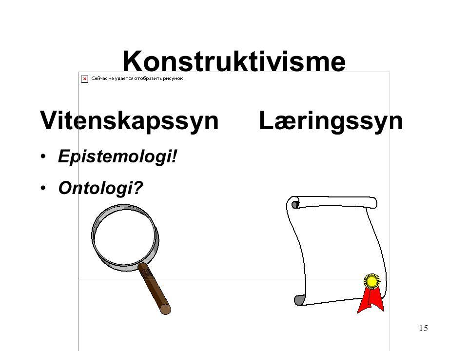 15 Læringssyn Konstruktivisme Vitenskapssyn •Epistemologi! •Ontologi?