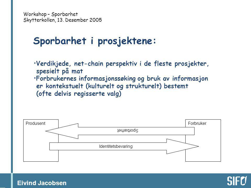 Eivind Jacobsen Workshop – Sporbarhet Skytterkollen, 13. Desember 2005 ForbrukerProdusent Sporbarhet Identitetsbevaring •Verdikjede, net-chain perspek