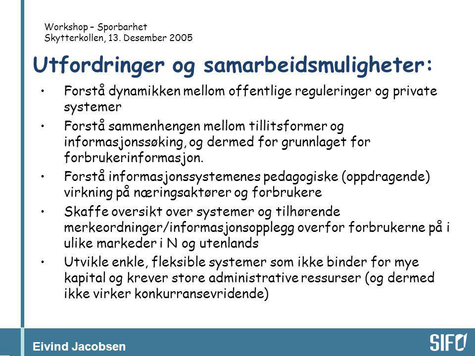 Eivind Jacobsen Workshop – Sporbarhet Skytterkollen, 13. Desember 2005 Utfordringer og samarbeidsmuligheter: •Forstå dynamikken mellom offentlige regu