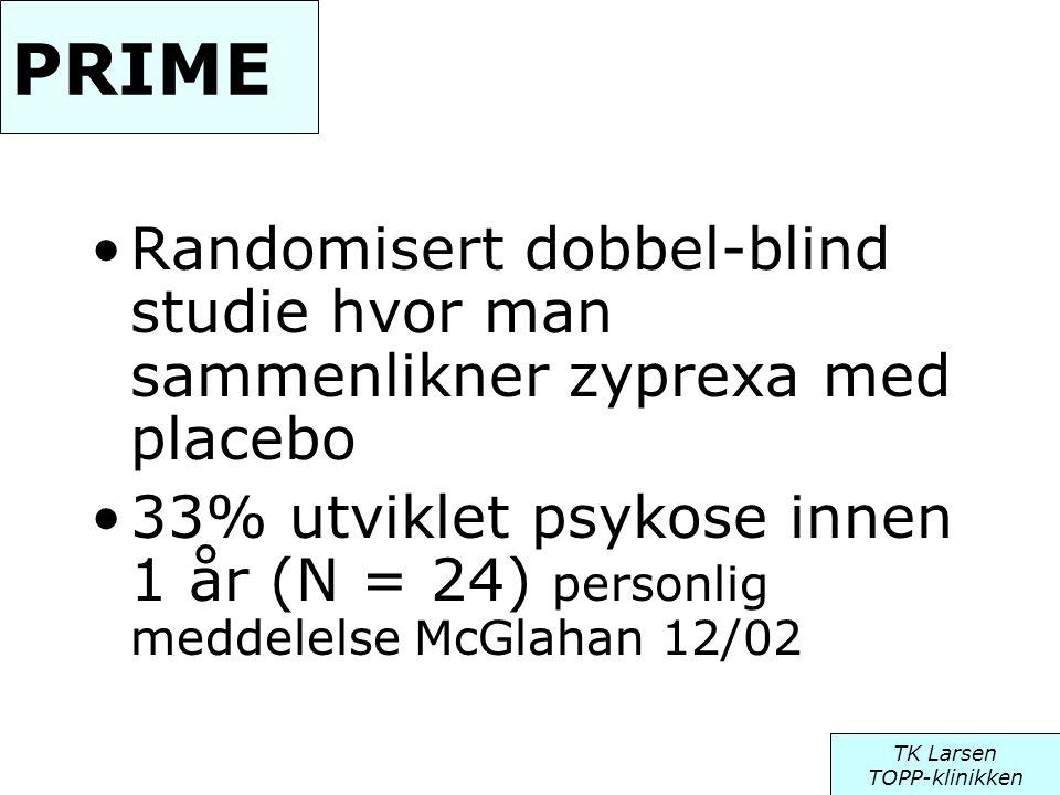 PRIME •Randomisert dobbel-blind studie hvor man sammenlikner zyprexa med placebo •33% utviklet psykose innen 1 år (N = 24) personlig meddelelse McGlah