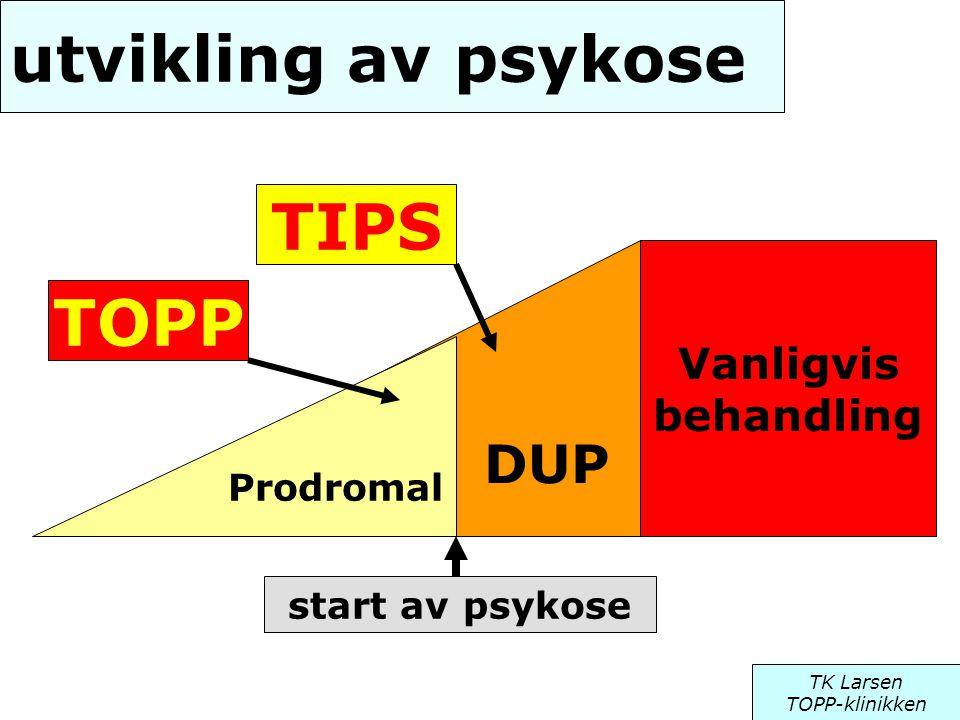 DUP utvikling av psykose Vanligvis behandling Prodromal TIPS TOPP TK Larsen TOPP-klinikken start av psykose