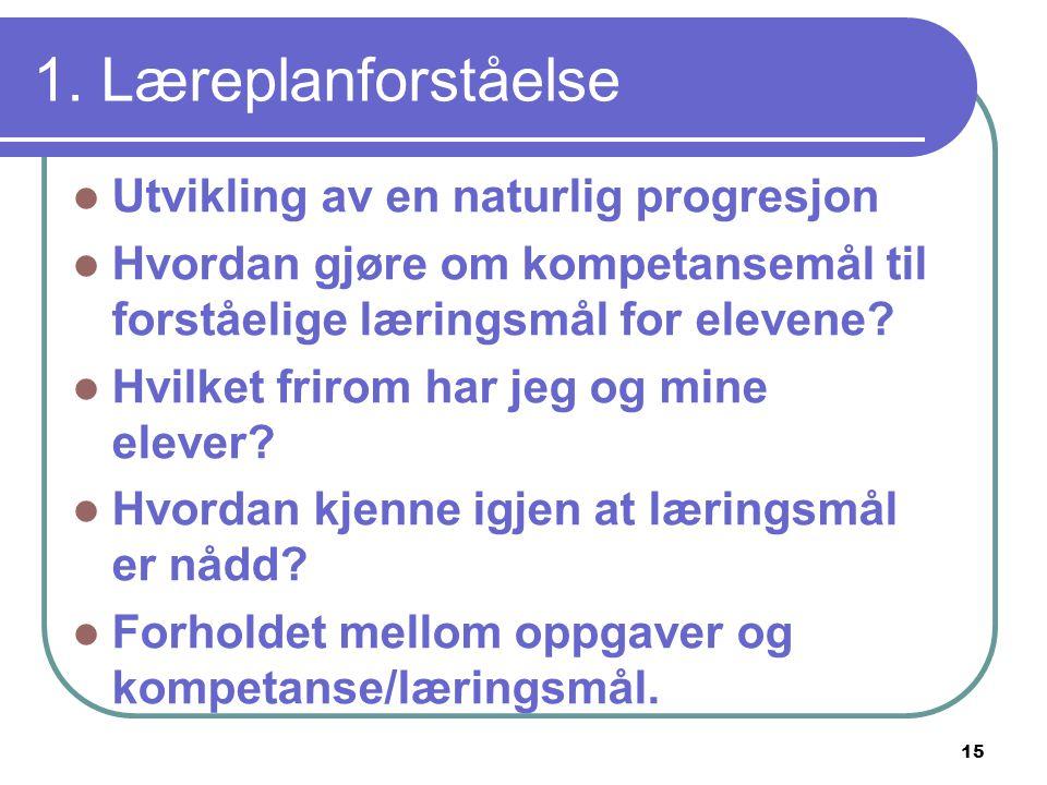 15 1. Læreplanforståelse  Utvikling av en naturlig progresjon  Hvordan gjøre om kompetansemål til forståelige læringsmål for elevene?  Hvilket frir