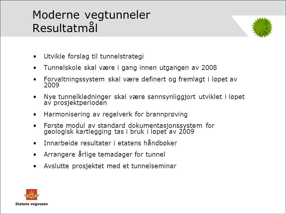 Moderne vegtunneler Effektmål •Etaten skal fremstå med en klar policy både på tunnelplanlegging, -bygging og -forvaltning.