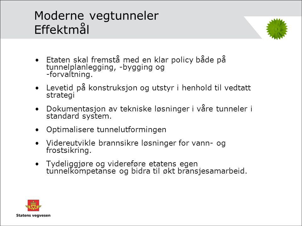 Delprosjekter (rev) •Dp0 Strategi for vegtunneler •Dp1 Tunnel som planelement i vegsystem og lokalsamfunn •Dp2 Tunnelskole •Dp3 Tilstrekkelig standard og sikkerhet i vegtunneler •Dp4 Tunnelkledninger •Dp5 Brannsikkerhet og materialkrav •Dp6 Tunneldokumentasjon •Dp7 Tunnelutforming