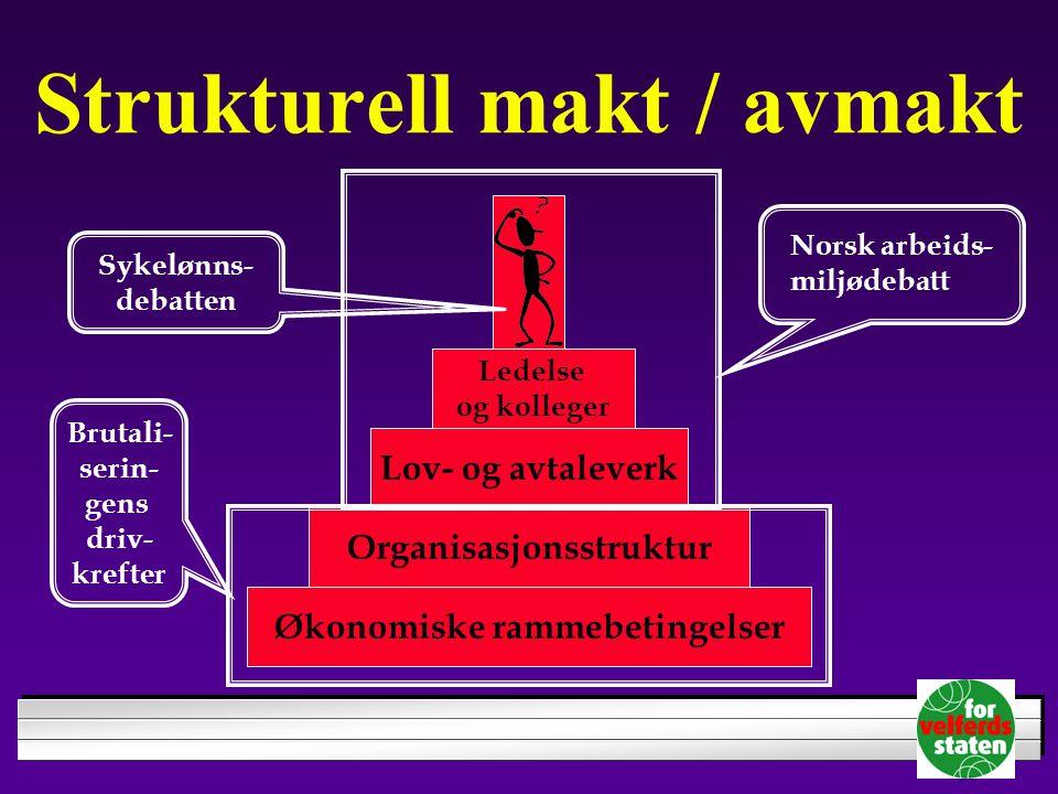 Strukturell makt / avmakt Økonomiske rammebetingelser Organisasjonsstruktur Lov- og avtaleverk Ledelse og kolleger Norsk arbeids- miljødebatt Sykelønn