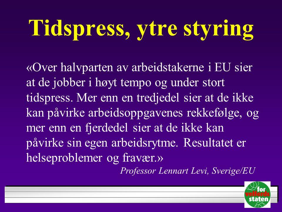 Tidspress, ytre styring «Over halvparten av arbeidstakerne i EU sier at de jobber i høyt tempo og under stort tidspress. Mer enn en tredjedel sier at
