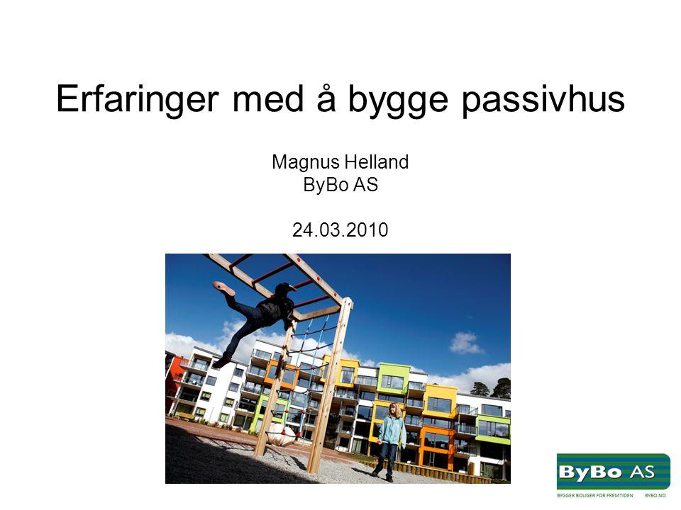 Erfaringer med å bygge passivhus Magnus Helland ByBo AS 24.03.2010