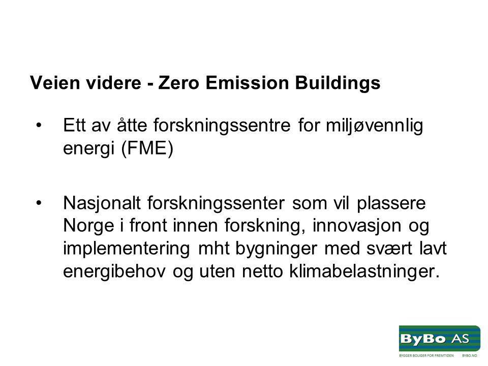Veien videre - Zero Emission Buildings •Ett av åtte forskningssentre for miljøvennlig energi (FME) •Nasjonalt forskningssenter som vil plassere Norge