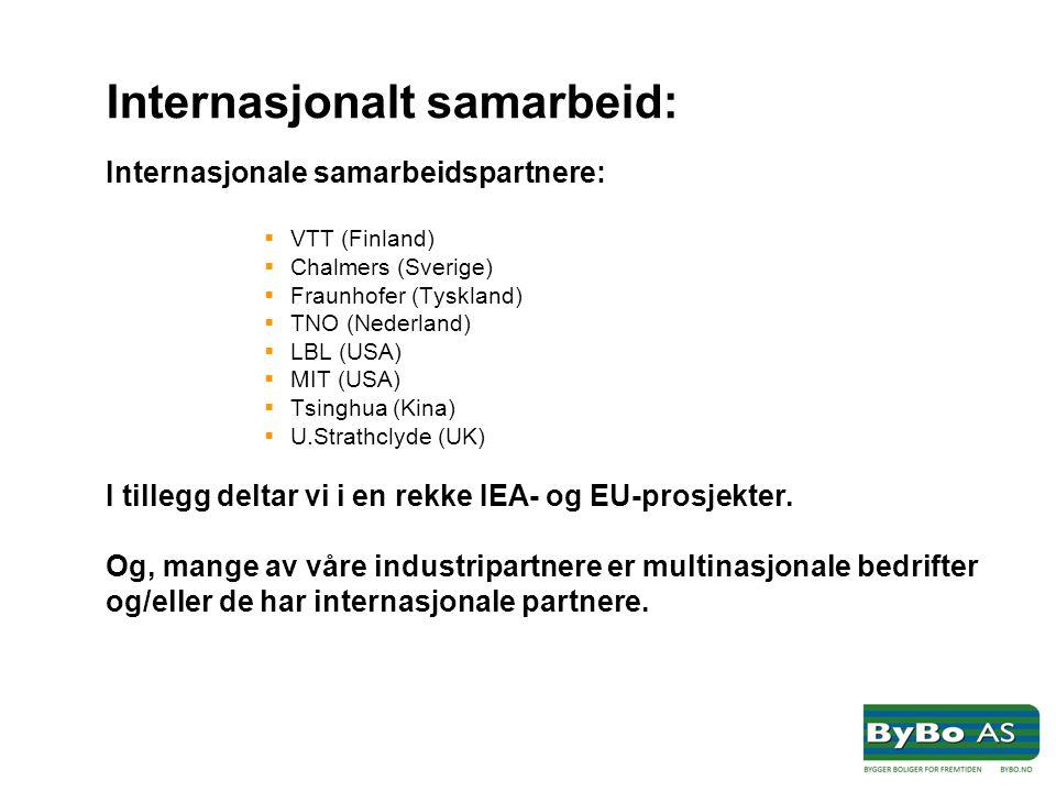 Internasjonalt samarbeid: Internasjonale samarbeidspartnere:  VTT (Finland)  Chalmers (Sverige)  Fraunhofer (Tyskland)  TNO (Nederland)  LBL (USA