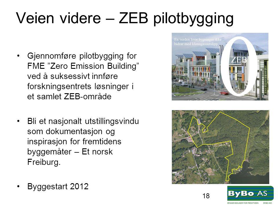"""Veien videre – ZEB pilotbygging •Gjennomføre pilotbygging for FME """"Zero Emission Building"""" ved å suksessivt innføre forskningsentrets løsninger i et s"""