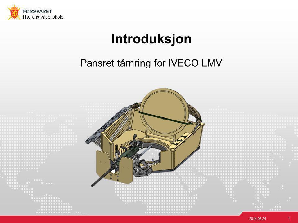 2 Hærens våpenskole 2014.06.24 Tekniske data Produsent: VINGHØG AS Vekt: Tilfører IVECO LMV 117,5 kg etter montasje Totalvekt: Ca 300kg (12,7, ammo, eget våpen) Rotasjonshastighet E: 8 s/360° (Elektrisk) Elevasjonshastighet: 7-10 s (manuell) Maks/min elevasjon:: -15° til +50° V/H sektor: +/- 25° Høyde fra bakke: 3,14m