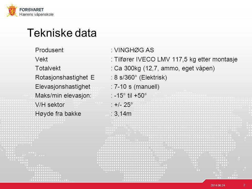 2 Hærens våpenskole 2014.06.24 Tekniske data Produsent: VINGHØG AS Vekt: Tilfører IVECO LMV 117,5 kg etter montasje Totalvekt: Ca 300kg (12,7, ammo, e