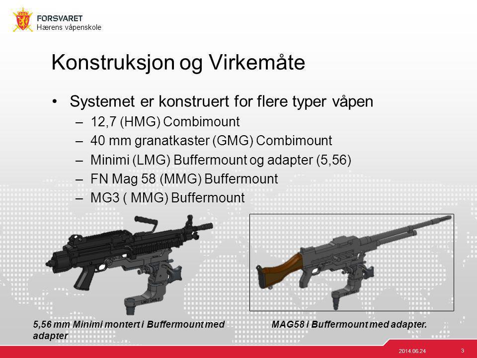 3 Hærens våpenskole •Systemet er konstruert for flere typer våpen –12,7 (HMG) Combimount –40 mm granatkaster (GMG) Combimount –Minimi (LMG) Buffermoun