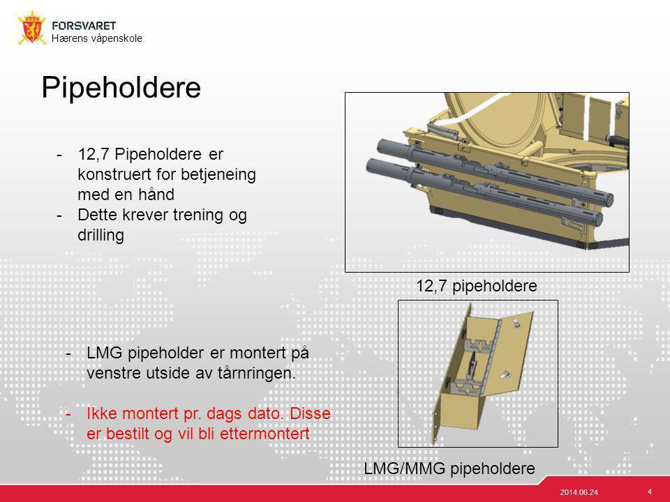 4 Hærens våpenskole Pipeholdere 2014.06.24 12,7 pipeholdere LMG/MMG pipeholdere -12,7 Pipeholdere er konstruert for betjeneing med en hånd -Dette krev