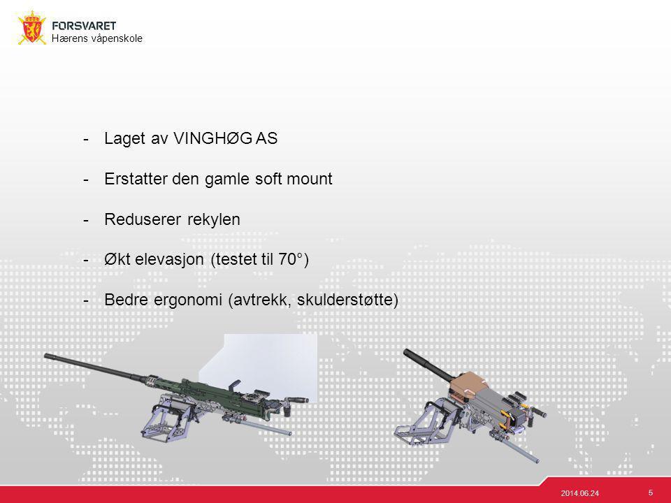 5 Hærens våpenskole 2014.06.24 -Laget av VINGHØG AS -Erstatter den gamle soft mount -Reduserer rekylen -Økt elevasjon (testet til 70°) -Bedre ergonomi