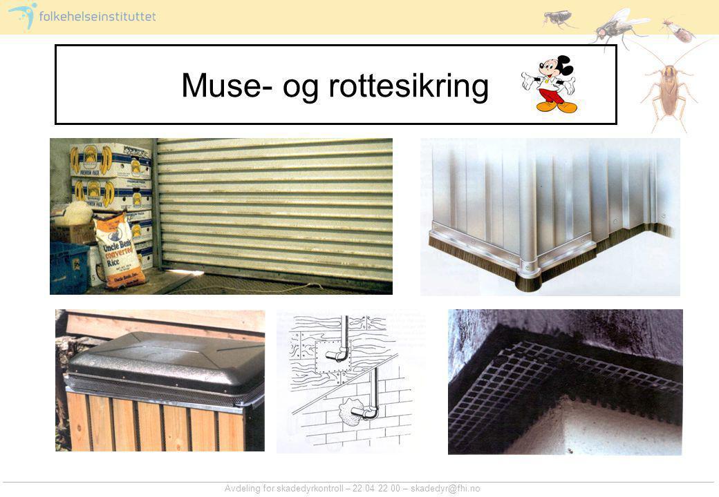 Avdeling for skadedyrkontroll – 22 04 22 00 – skadedyr@fhi.no Muse- og rottesikring