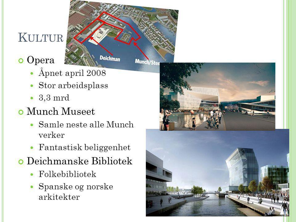 K ULTUR Opera  Åpnet april 2008  Stor arbeidsplass  3,3 mrd Munch Museet  Samle neste alle Munch verker  Fantastisk beliggenhet Deichmanske Bibli