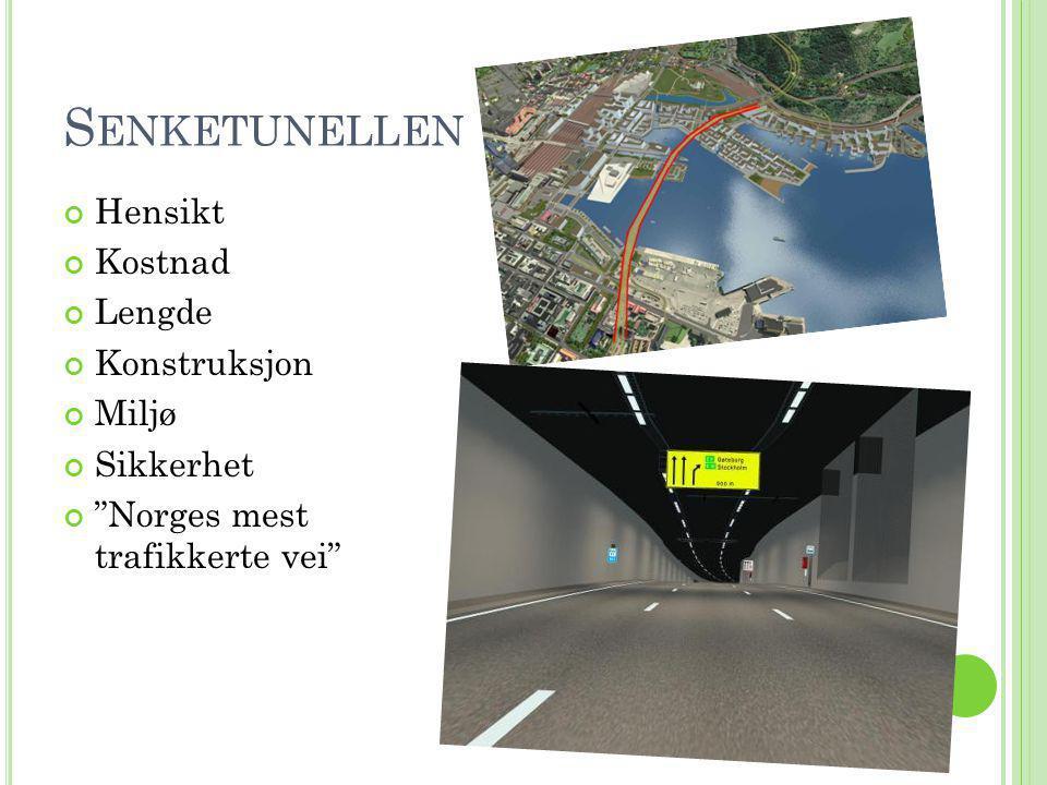 """S ENKETUNELLEN Hensikt Kostnad Lengde Konstruksjon Miljø Sikkerhet """"Norges mest trafikkerte vei"""""""