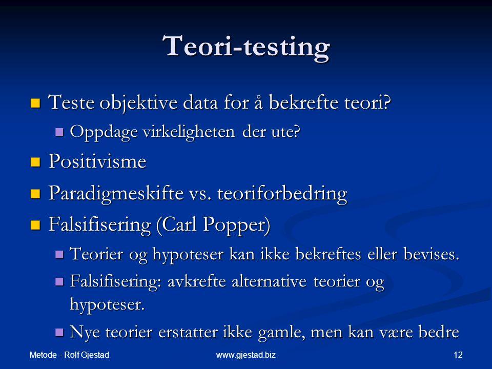 Metode - Rolf Gjestad 12www.gjestad.biz Teori-testing  Teste objektive data for å bekrefte teori.