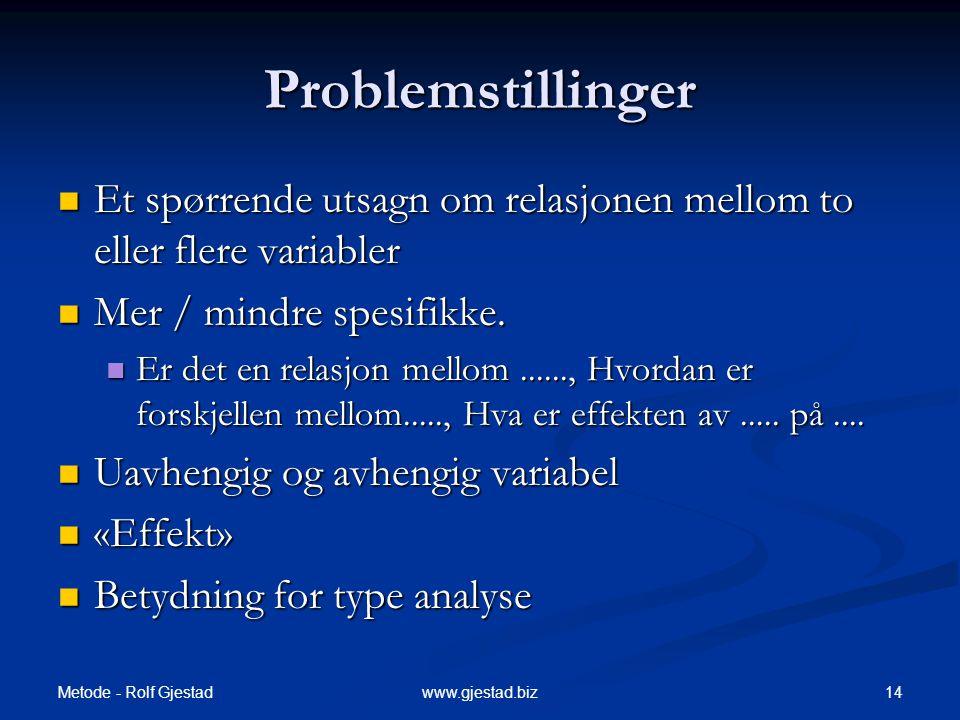 Metode - Rolf Gjestad 14www.gjestad.biz Problemstillinger  Et spørrende utsagn om relasjonen mellom to eller flere variabler  Mer / mindre spesifikke.