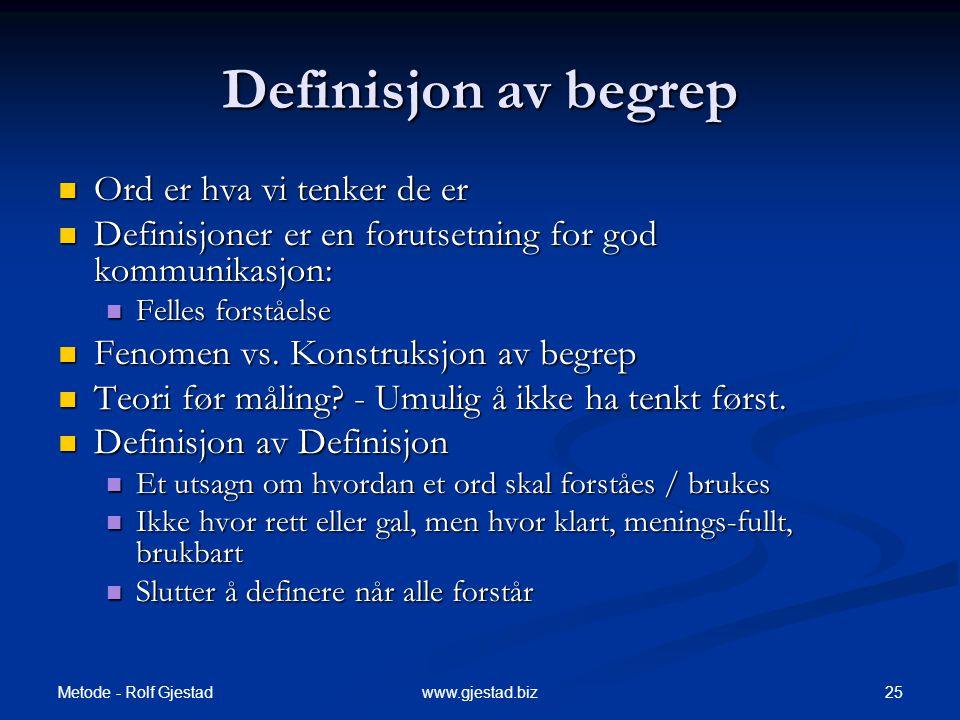 Metode - Rolf Gjestad 25www.gjestad.biz Definisjon av begrep  Ord er hva vi tenker de er  Definisjoner er en forutsetning for god kommunikasjon:  Felles forståelse  Fenomen vs.