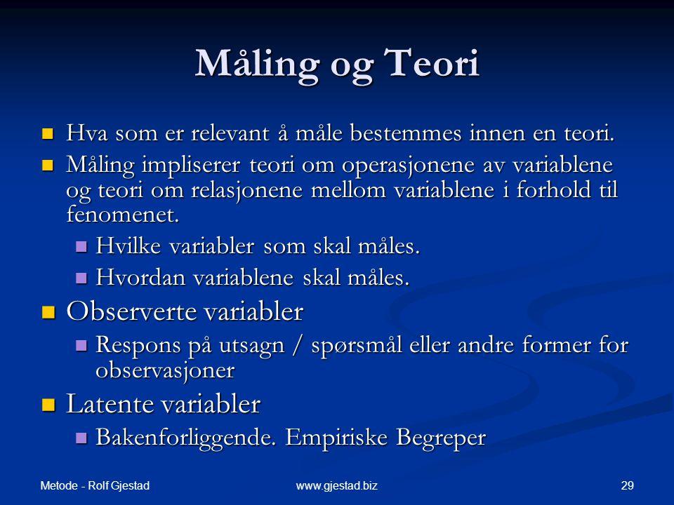 Metode - Rolf Gjestad 29www.gjestad.biz Måling og Teori  Hva som er relevant å måle bestemmes innen en teori.