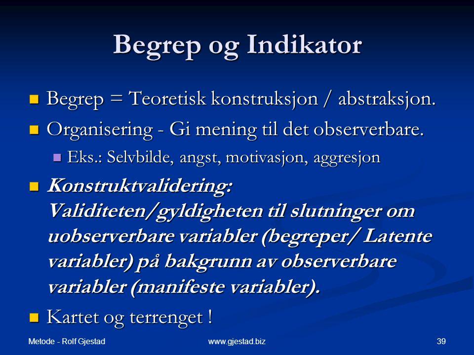 Metode - Rolf Gjestad 39www.gjestad.biz Begrep og Indikator  Begrep = Teoretisk konstruksjon / abstraksjon.