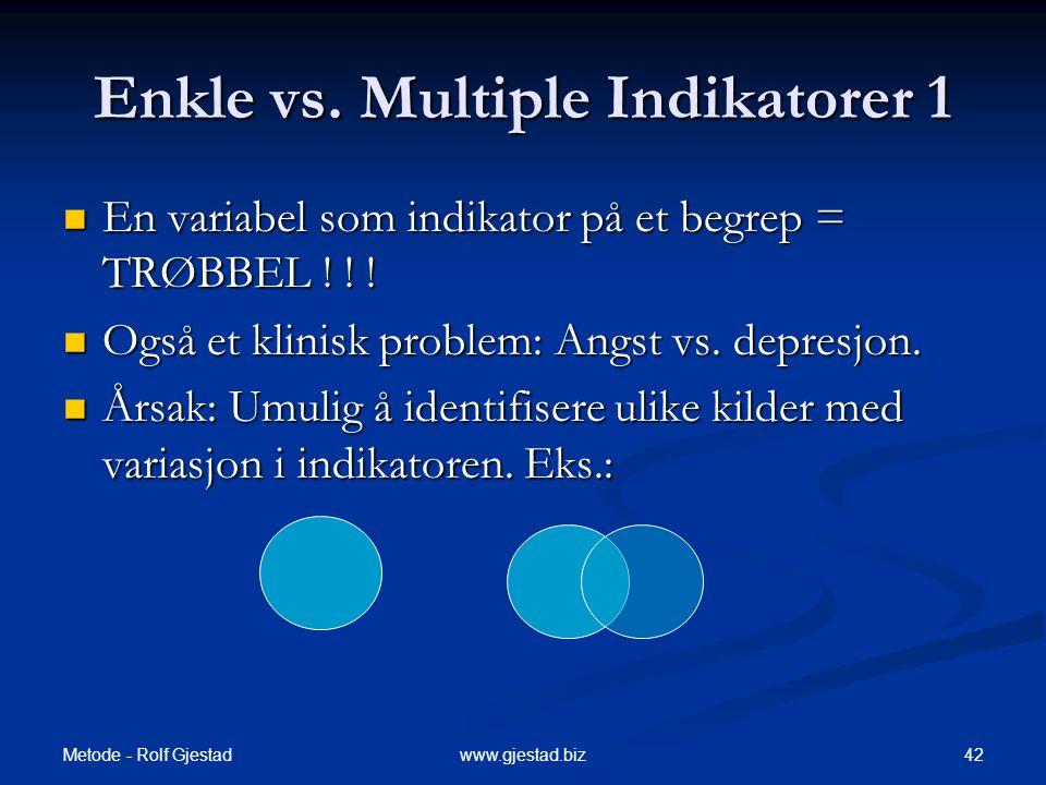 Metode - Rolf Gjestad 42www.gjestad.biz Enkle vs.