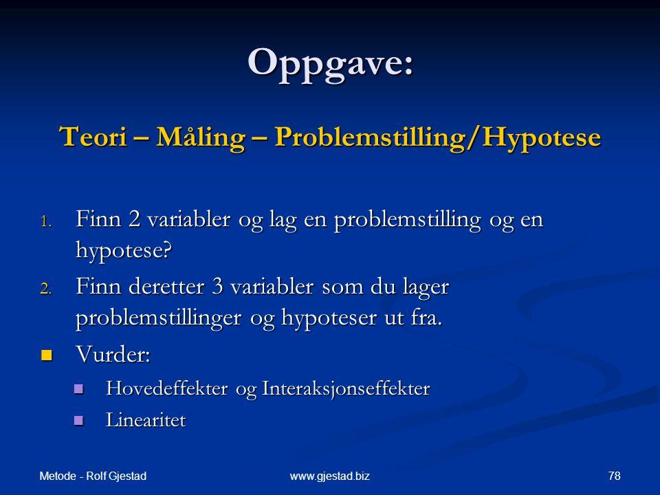 Metode - Rolf Gjestad 78www.gjestad.biz Oppgave: Teori – Måling – Problemstilling/Hypotese 1.
