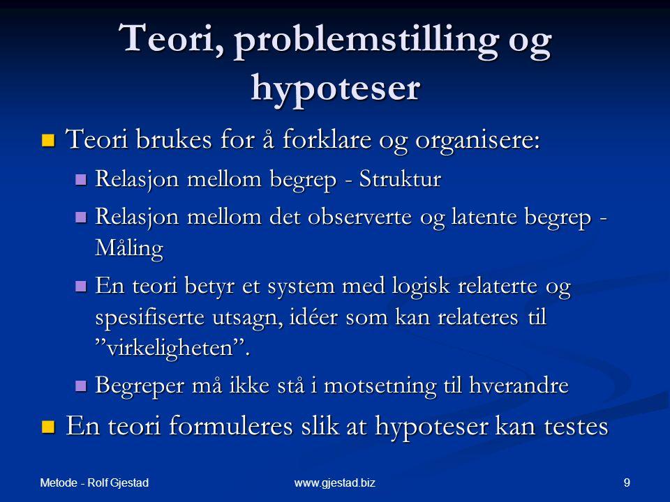 Metode - Rolf Gjestad 30www.gjestad.biz Måling og Statistikk  Måling  Statistikk  Måling  Statistikk  Hypotesetesting  Måleinstrumentets kvalitet påvirker de statistiske analysene.