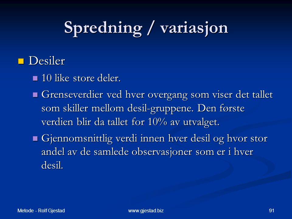 Metode - Rolf Gjestad 91www.gjestad.biz Spredning / variasjon  Desiler  10 like store deler.