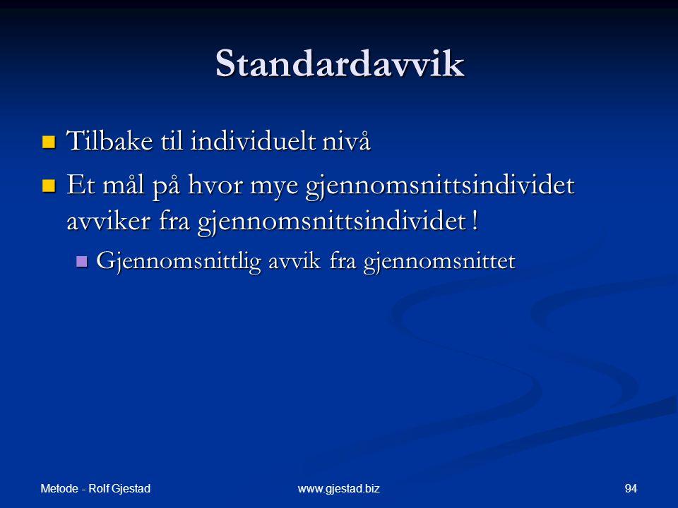 Metode - Rolf Gjestad 94www.gjestad.biz Standardavvik  Tilbake til individuelt nivå  Et mål på hvor mye gjennomsnittsindividet avviker fra gjennomsnittsindividet .