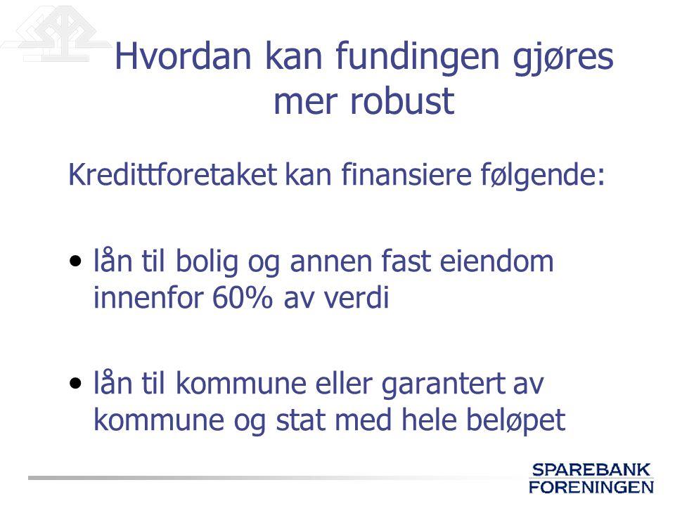 Kredittforetaket kan finansiere følgende: • lån til bolig og annen fast eiendom innenfor 60% av verdi • lån til kommune eller garantert av kommune og