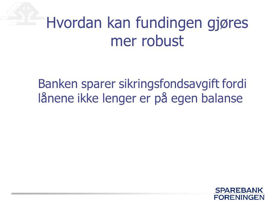 Banken sparer sikringsfondsavgift fordi lånene ikke lenger er på egen balanse Hvordan kan fundingen gjøres mer robust