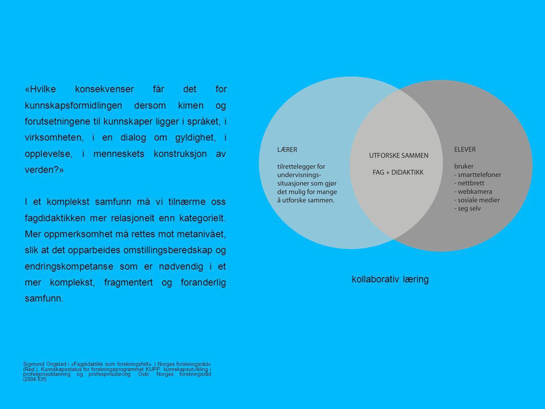 kollaborativ læring «Hvilke konsekvenser får det for kunnskapsformidlingen dersom kimen og forutsetningene til kunnskaper ligger i språket, i virksomheten, i en dialog om gyldighet, i opplevelse, i menneskets konstruksjon av verden?» I et komplekst samfunn må vi tilnærme oss fagdidaktikken mer relasjonelt enn kategorielt.