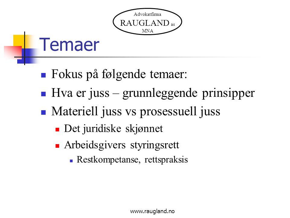 Advokatfirma RAUGLAND as MNA www.raugland.no Temaer  Fokus på følgende temaer:  Hva er juss – grunnleggende prinsipper  Materiell juss vs prosessue