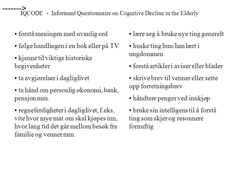 IQCODE - Informant Questionnaire on Cognitive Decline in the Elderly • forstå meningen med uvanlig ord • følge handlingen i en bok eller på TV • kjenn